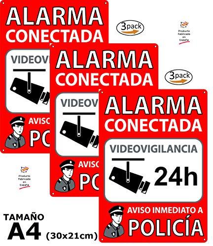 Pack o Lote de 3 Carteles Disuasorios A4 Interior/Exterior, Placa Disuasoria PVC Flexible, Cartel Alarma Conectada, 30x21 cm, Rojo