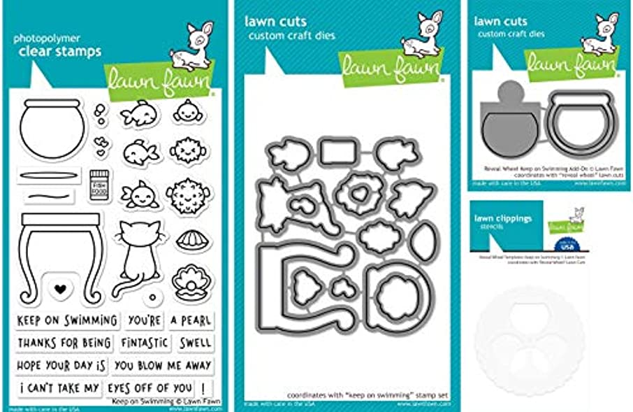 Lawn Fawn Keep On Swimming Set - Fishbowl-Themed Stamps, Dies, Reveal Wheel Add-On Die and Templates - 4 Items