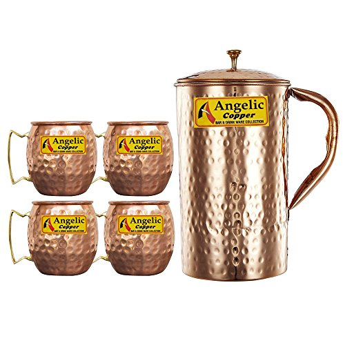 Angelic Copper Handmade Jug with Cup Set, Set of 4, Brown