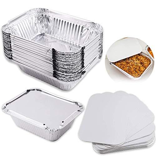 30 Pcs Bandejas de Papel de Aluminio con Tapas Bandejas de Goteo de Aluminio PequeñAs Parrilla de Aluminio Ideales para Hornear, Cocinar, Almacenar y Congelar, TamañO PequeñO de La PorcióN (650 Ml)