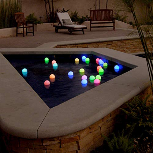 """Floating Lights for Pool (Set of 12) 3"""" Round Light Up Pool Glow Balls Color Changing Pool Decorations LED Lighted Balls for Pool"""