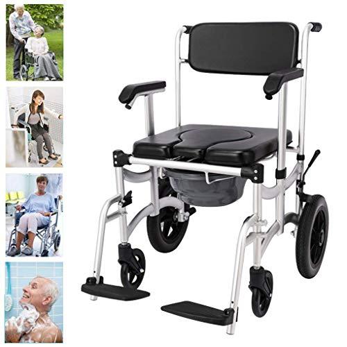 Z-SEAT 4 In 1 Kommodenstuhl, Toilettenstuhl auf Rollen/Duschstuhl Transportstuhl/Mobile Toilette/Klappbar/Abnehmbare Armlehne/Senioren/Behinderte