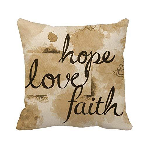 N\A Throw Pillow Cover Marrón Sepia Acuarela Mensaje de fe, Esperanza y Amor Funda de Almohada Funda de Almohada Cuadrada Decorativa para el hogar Funda de cojín