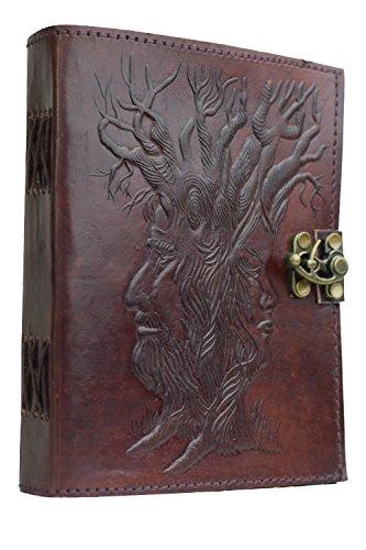Stammbaum des Lebens - Vintage Notizbuch Büffelleder NEUE PAPIERART aus Baumwolle Papier Handarbeit Indien