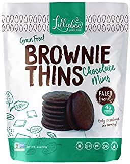 Lillabee Brownie Thins Chocolate Mint, Paleo Friendly, Gluten Free, Low Carb, Healthy Snacks, High Protein, Crunchy Cookies , Grain free, No Dairy, No Soy 4oz bag (3 Pack)