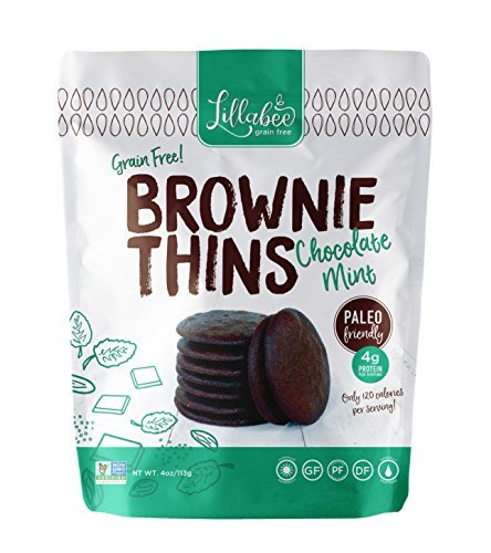 Lillabee Brownie Thins Chocolate Mint, Paleo Friendly, Gluten Free, Carb Smart, Healthy Snacks, High Protein, Crunchy Cookies , Grain, Soy and Dairy Free, 4oz bag (3 Pack)