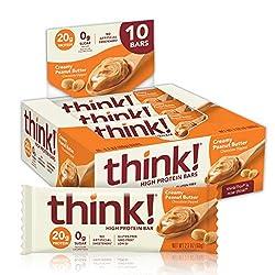 think! (thinkThin) High Protein Bars - Creamy Peanut Butter, 20g Protein, 0g Sugar, No Artificial Sw