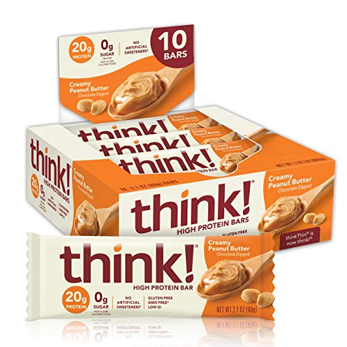 think! (thinkThin) High Protein Bars - Creamy Peanut Butter, 20g Protein, 0g Sugar, No Artificial Sweeteners**, Gluten Free, GMO Free*, 2.1 Ounce (10 Count) Packaging May Vary