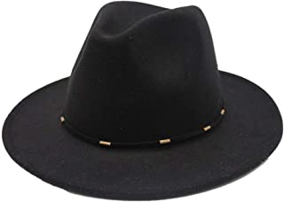 2019 Mens Womens Hats Womens Winter Wool Polyester Fedora Hat for Women Lady Outdoor Travel Church Casual Wild Hat Fascinator Trilby Jazz Hat Soft (Color : Black, Size : 56-58)