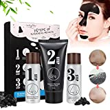 Masque Point Noir, LuckyFine, Blackhead Step Kit, Peel off Masque, Masque Noir, Peau Nettoyage, Anti-Point Masque, Black Head Masque, Blackhead Remover Masque En 3 Kit