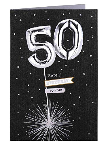 Clintons: Carte d'anniversaire 50 ans Ballons argentés 235 x 155 mm 1153047