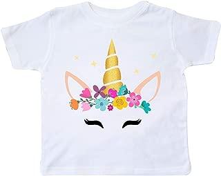 Unicorn Face, Unicorn Head, Colorful Flowers, Stars Toddler T-Shirt