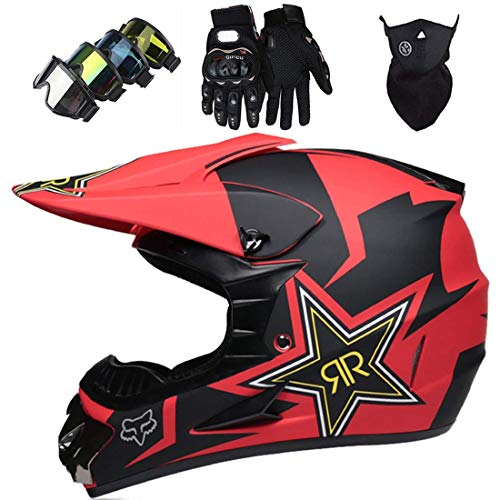 Casco de moto con máscara, guantes, cascos de moto con diseño de zorro para niños y adultos, conjunto de cascos de motocross de cara completa para MTB Quad Bike Dirt Bike BMX Off Road