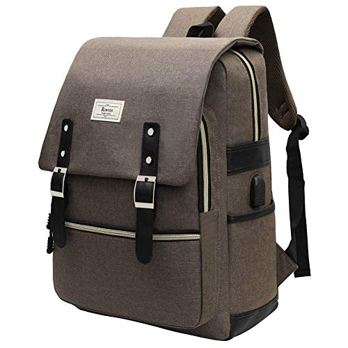 College Bag Fits up to 15.6'' Laptop Casual Rucksack Waterproof Business Travel School Backpack Daypacks with USB Unisex(GrayBrown)