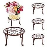 4 Pack Plant Stand Metal Potted Flower Stands Indoor/Outdoor Clearance Flower Pot Holder Display Shelf Garden Balcony Home Patio Display Rack Decor(4 Copper)
