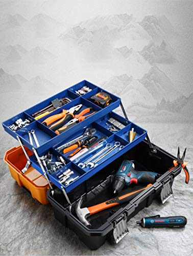 17-Inch Multi-Purpose 3-Layer Toolbox with Tray and Dividers - Household Plastic Tool Organizers,Orange Folding Storage Box