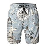 EWUEJNK Slips Natación Hombre,Mapa Náutico Impreso En 3D De Secado Rápido con Brújula Pantalones Cortos De Natación, Poliéster Transpirable Cómodo Traje De Baño Ligero De Las Bermudas Natación Playa