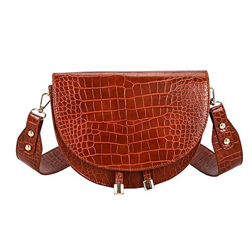 TESSSAR Bolso bandolera de lujo a la moda para mujer, bolsos de sillín semicírculo de cocodrilo, bolsos de hombro de cuero suave para bolsos de diseñador para mujer