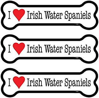 "SJT ENTERPRISES, INC. Irish Water Spaniels 3-Pack of 2 x 7"" Bone Shaped Car Magnets (SJT25409)"