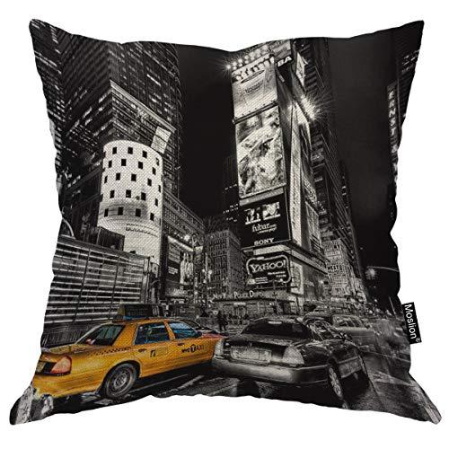 Moslion New York Pillow Decorative Throw Pillow Cover Vintage New York City Satin Square Cushion Cover Standard Pillow Cases for Men Women Boys Girls Home Sofa Bedroom Livingroom 18'x18',Black Yellow