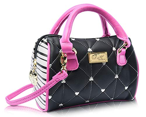 Luv Betsey Johnson Harley Heart Mini Crossbody Satchel Bag - Black/Fuschia