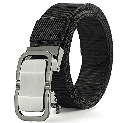 Xme Cinturón de lona para hombre con hebilla automática, cinturón de jeans de tendencia simple casual de negocios para jóvenes y de mediana edad