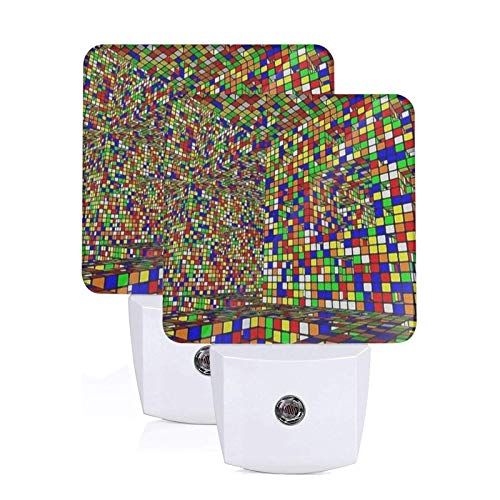2 PC Plug-in LED Night Lights Rubiks Cubes Art Print Dusk to Dawn Sensor White Light Perfect for Bathroom Kitchen and Hallway