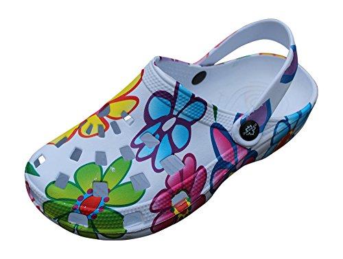 Gartenschuhe Damen superleicht Hausschuhe Fashion Clogs Schlappen Badeschuhe Gummi Gartenclogs Clocks (36, Bunt (Sommer))
