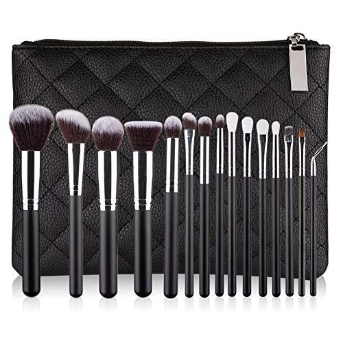 Maquillage Professionnel Pinceau 15 Pcs Beauté Outils Poignée En Bois Brosse Avec PU Brosse Sac Noir