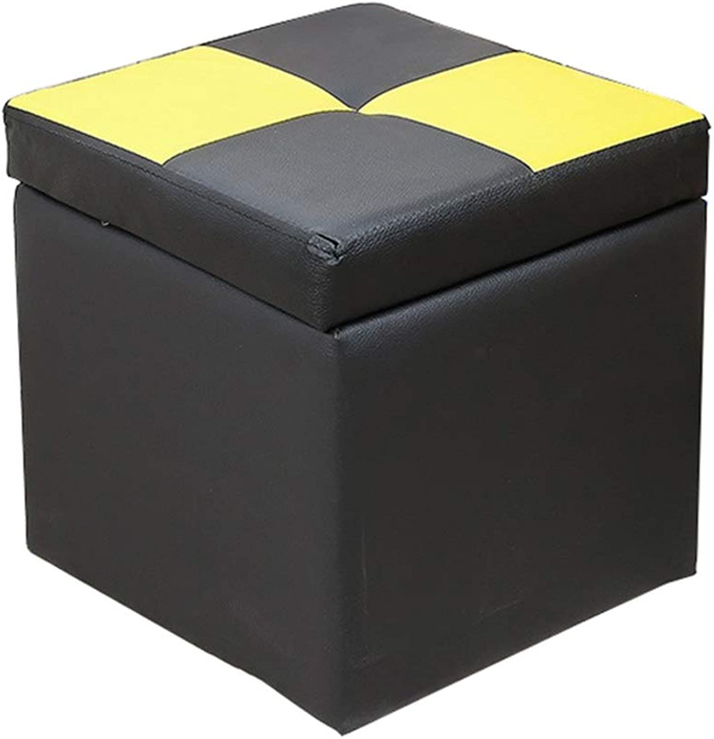 Storage Stool Creative Storage Stool Wooden Change shoes Stool PU Faux Leather Footstool Pouffe Footrest Single Seat Cube Box(Black) Bed End Stool (color    3)