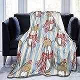 Music Note - Manta de lana de franela en blanco y negro, manta de felpa suave y esponjosa, mantas de microfibra ligeras para cama, sofá, silla, sala de estar (pingüino lindo Navidad amarillo azul rojo
