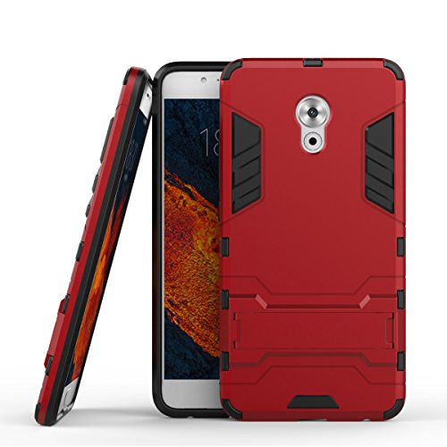 Tasche für Meizu Pro 6 Plus Hülle, Ycloud das stärkste Handy Shock Proof Armor Dual Schutzabdeckung Hochfeste PC Kunststoffoberschale Shockproof mit Halterung Schutzabdeckung Rotwein