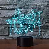 Lámpara de ilusión 3D Luz de noche LED Instrumento musical Jazz Drum Set 7 Cambio de color Lámpara de escritorio Decoración de dormitorio Novedad Los mejores regalos de vacaciones de cumpleaños p