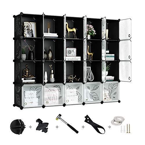 Greenstell 20 Cubos Organizadores para Almacenamiento con Puertas, Estantes de Plástico Apilables DIY, Multifuncionales, Modulares, Estantería de Armario para Libros(Negro&Blanco)