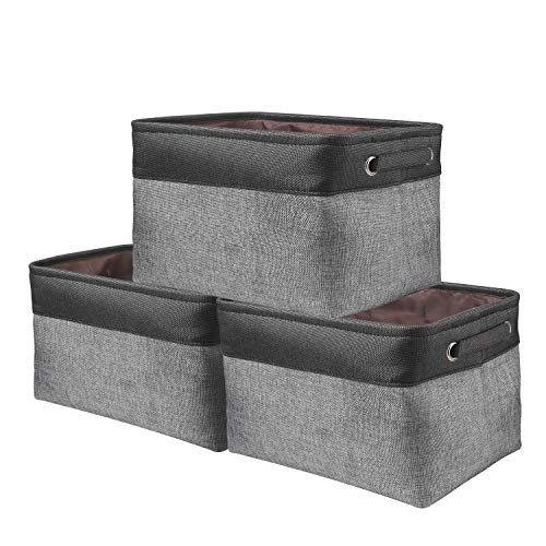 Awekris Set di 3 cestini portaoggetti in tela pieghevole nero e grigio, dimensioni 38 x 25 x 23 cm, per giocattoli, vestiti, casa, biancheria ecc.