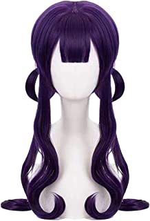 JoneTing Purple with Bangs Cosplay Synthetic Long Natural Wavy Wigs Hair for Women
