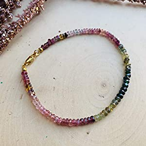 Dainty Watermelon Tourmaline Gemstone Gold Bracelet