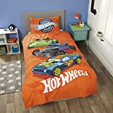 Coco Moon Hot Wheels Reversible Single Bed Duvet Cover and Pillow Set for Kids Ideal For Car Mad Kids