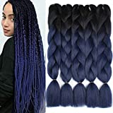 Xtrend 5Pcs 24 Inch Kanekalon Ombre Jumbo Braiding Hair 2 Tone Afro Braiding Hair Extensions 24 Inch Synthetic Hair for Braiding 100g/pc (5 Pieces, Black/Dark Blue#)