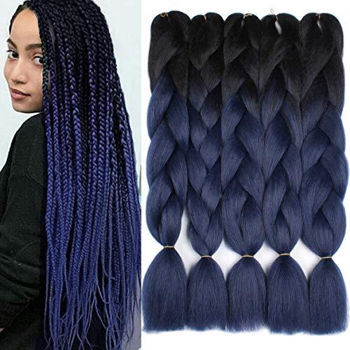 Xtrend 5Pcs 24 Inch Ombre Jumbo Braiding Hair 2 Tone Afro Braiding Hair Extensions 24 Inch Synthetic Hair for Braiding 100g/pc (5 Pieces, Black/Dark Blue#)