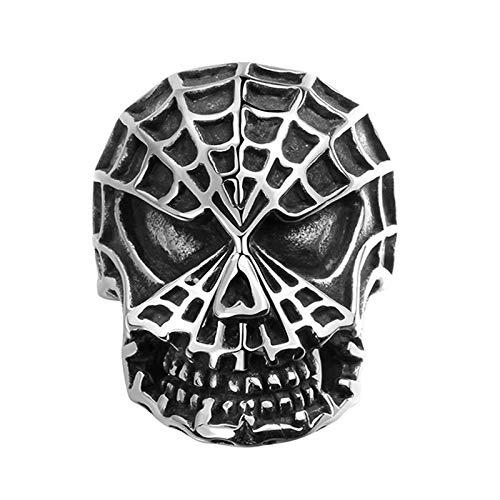 Anillo De Calavera De Spiderman con Personalidad Retro, Anillo De Acero Inoxidable Punk 316L para Hombre, Joyería De Aniversario De Moda,10