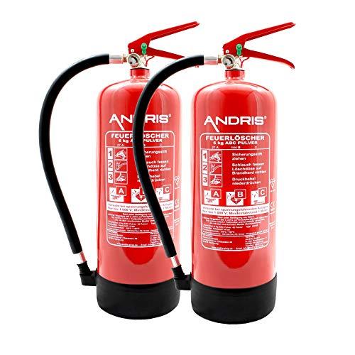 2X Orig. ANDRIS® Marken-Feuerlöscher 6kg ABC Pulverlöscher mit Manometer EN 3 inkl. ANDRIS® Prüfnachweis mit Jahresmarke