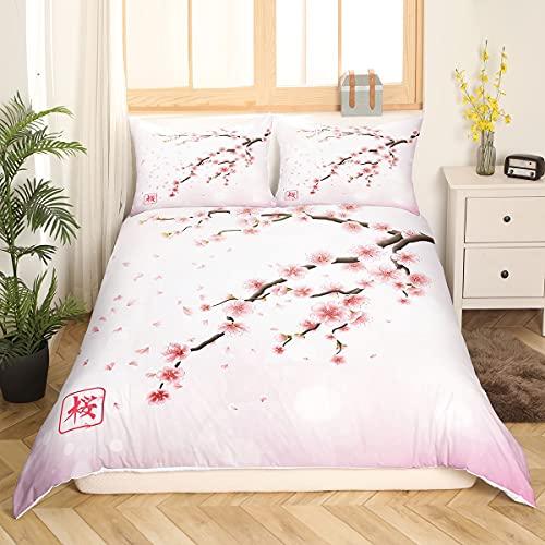 Kirschblüten Bettwäsche Set Im Japanischen Stil Romantisches Thema Rosa Trösterbezug Set Botanischer Blumenzweig Bedruckter Bettbezug Frauen Mädchen Paar Teen Weiche Tagesdecke, 135x200