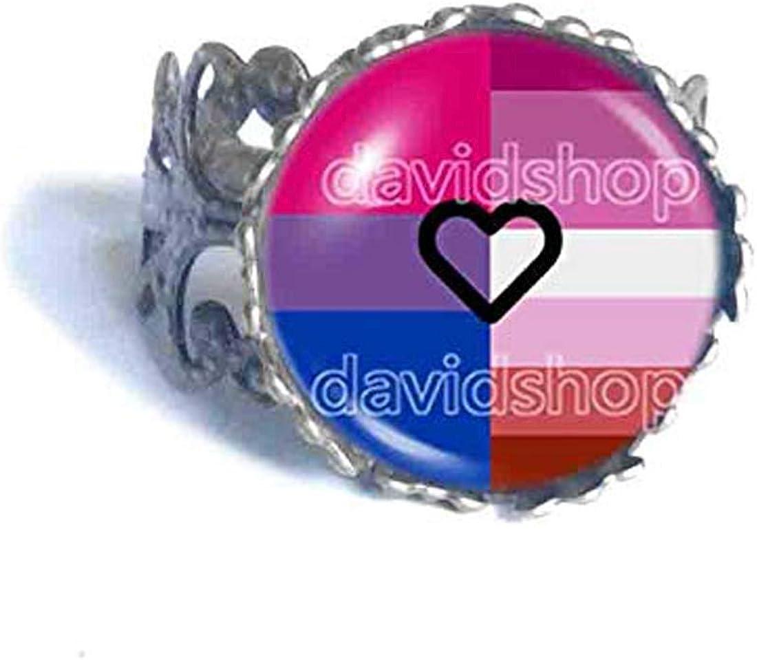 Fashion Jewelry Bisexual Lesbian Pride Ring Bi LGBT Flag Cosplay