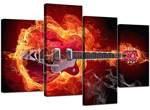 Leinwand-Set, Motiv: brennende Gitarre, XL, 130cm, 4Stück