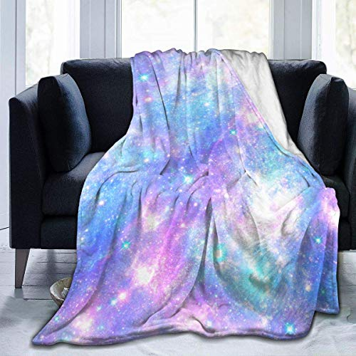 Pink and Blue Magical Galaxy Star Seamless Pattern in Repeat Printed Throw Blanket Ultra Soft for Children Teens Adults 50x40in