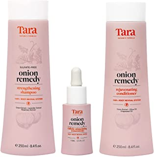 Tara Nature's Formula Onion Remedy Hair & Root Revival System Concentrate, Shampoo and Conditioner Set - Formulated To Hai...