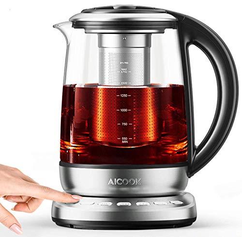 Aicook Glas Wasserkocher, 1.7L wasserkocher mit temperatureinstellung, 2200W, Schnellkochfunktion, 120 Minuten Warmhalten, herausnehmbarer Kalkfilter, Auto-Off, BPA-Frei [Energieklasse A+++]