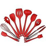 Conjunto de utensilios de cocina, utensilios de cocina de silicona Juego de 10 piezas Set de utensilios antiadherentes resistentes a los golpes, no tóxicos Conjunto de utensilios de cocina...