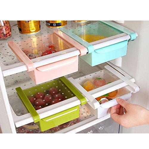 Organisateur de Réfrigérateur Plastique Tiroir à Accrocher pour Stockage Légument Fruit Oeufs - Bleu